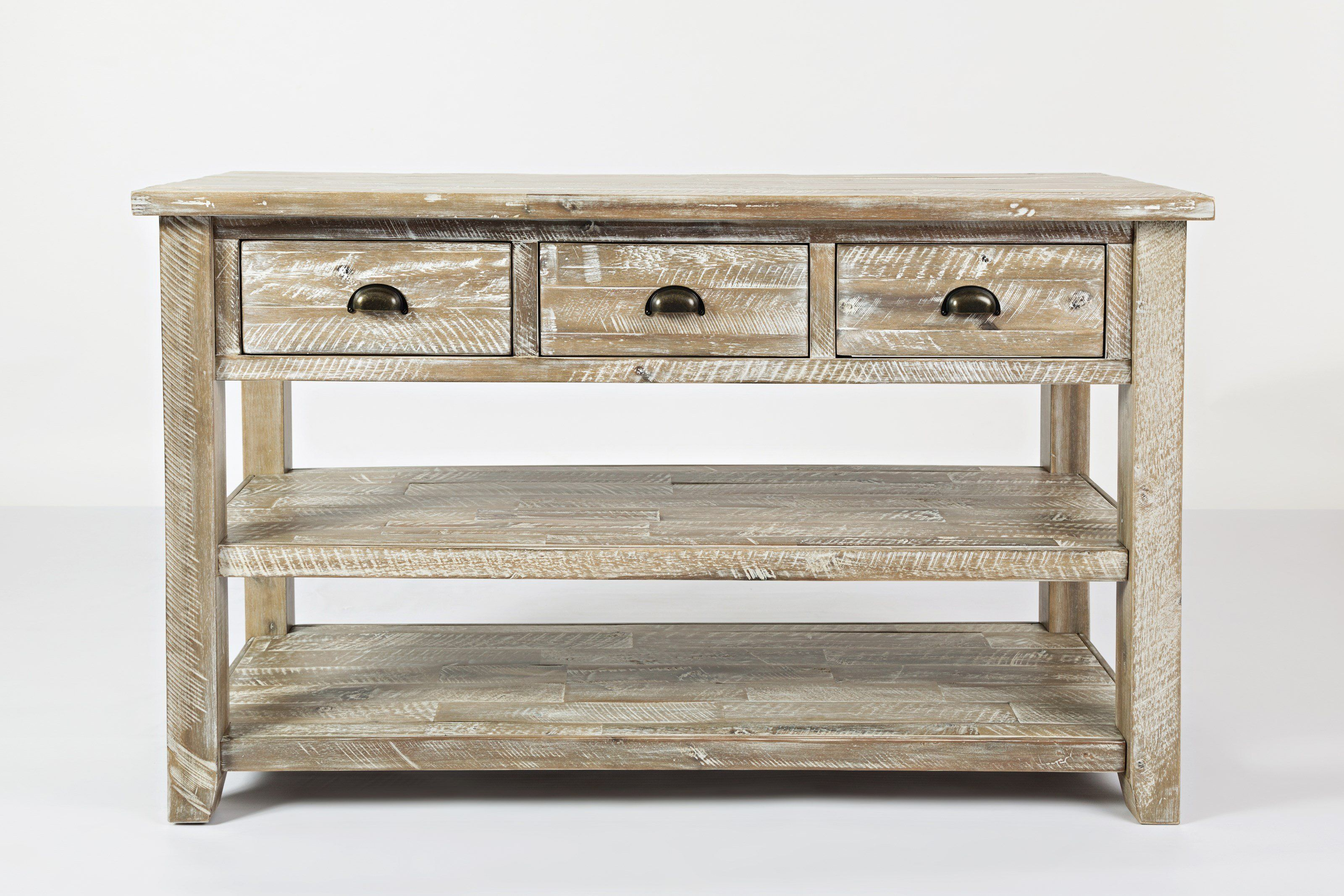 Wooden Sofa Table With Three Drawers And Two Open Shelves Washed Gray Gray Wo In 2020 Sofa Table With Storage Wooden Sofa Wooden Console Table