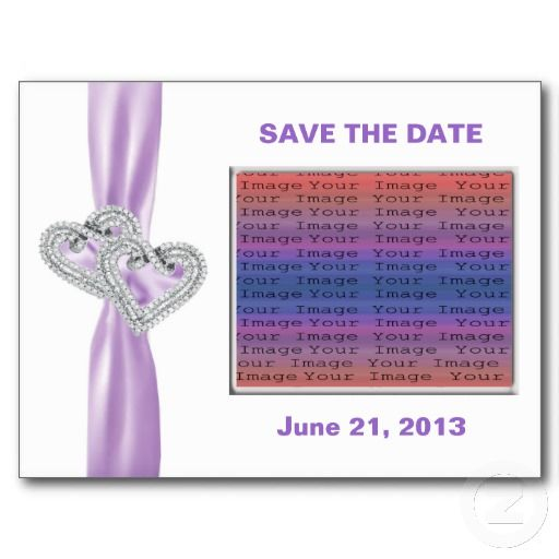 Custom Heart Lavender Ribbon SaveThe Date Postcard #weddings