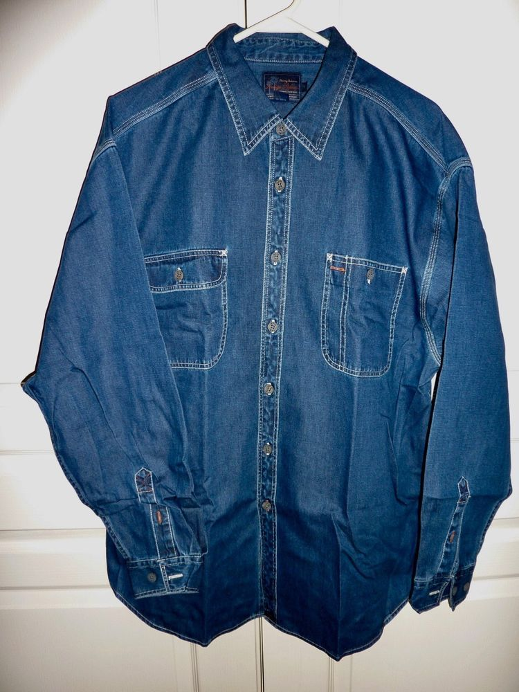 84df865282 Men s Tommy Bahama Indigo Palms Dk Denim Blue Long Sleeve Shirt Sz Lg   fashion  clothing  shoes  accessories  mensclothing  shirts (ebay link)