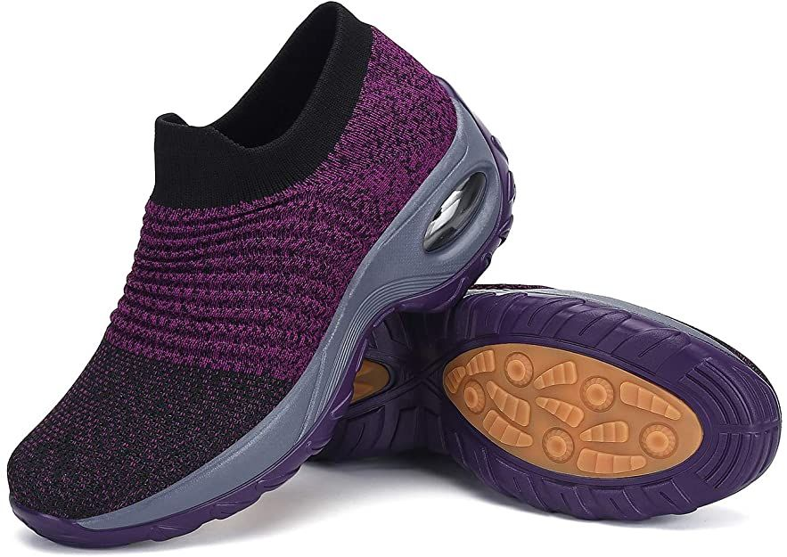 Womens walking shoes air cushion slip on sock sneakers