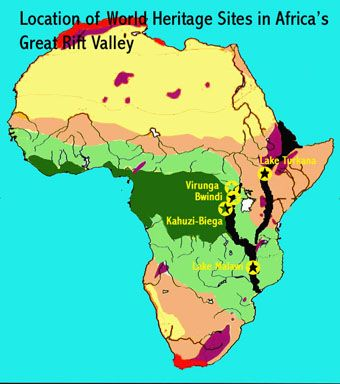 Map showing the location of five UNESCO-designated natural world - copy world map pdf file