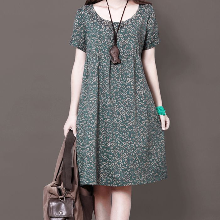 US $33.8 |New 2015 summer women's print flowers loose casual dress short sleeve printing cotton+linen dress plus size S XXL|flower dress stores|flower summer dressesflower shoulder dress - AliExpress