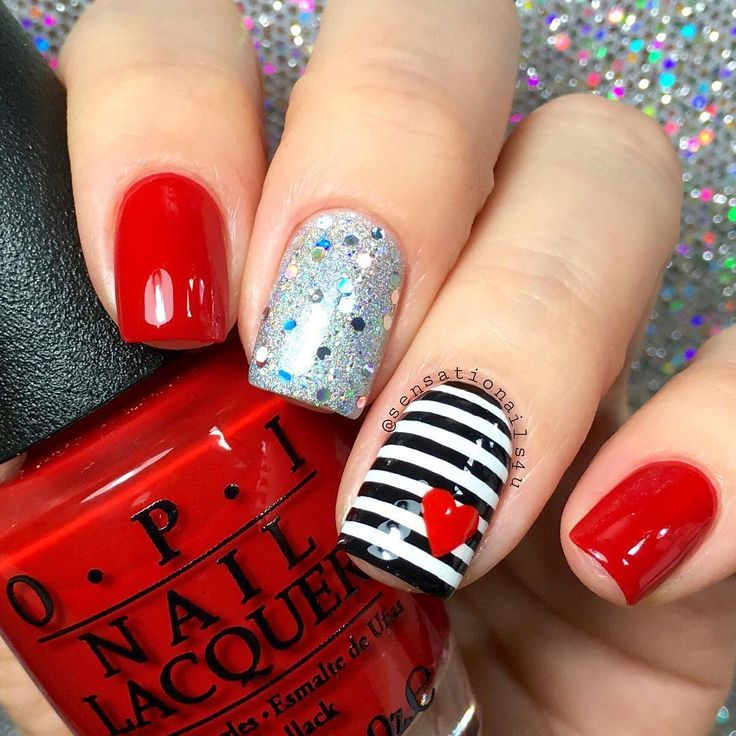 Valentine nails (minus the middle finger) | Nail Designs | Pinterest ...
