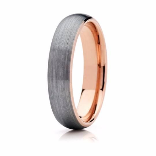 Tungsten Ring Rose Gold Brushed Silver Wedding Band Ring Tungsten