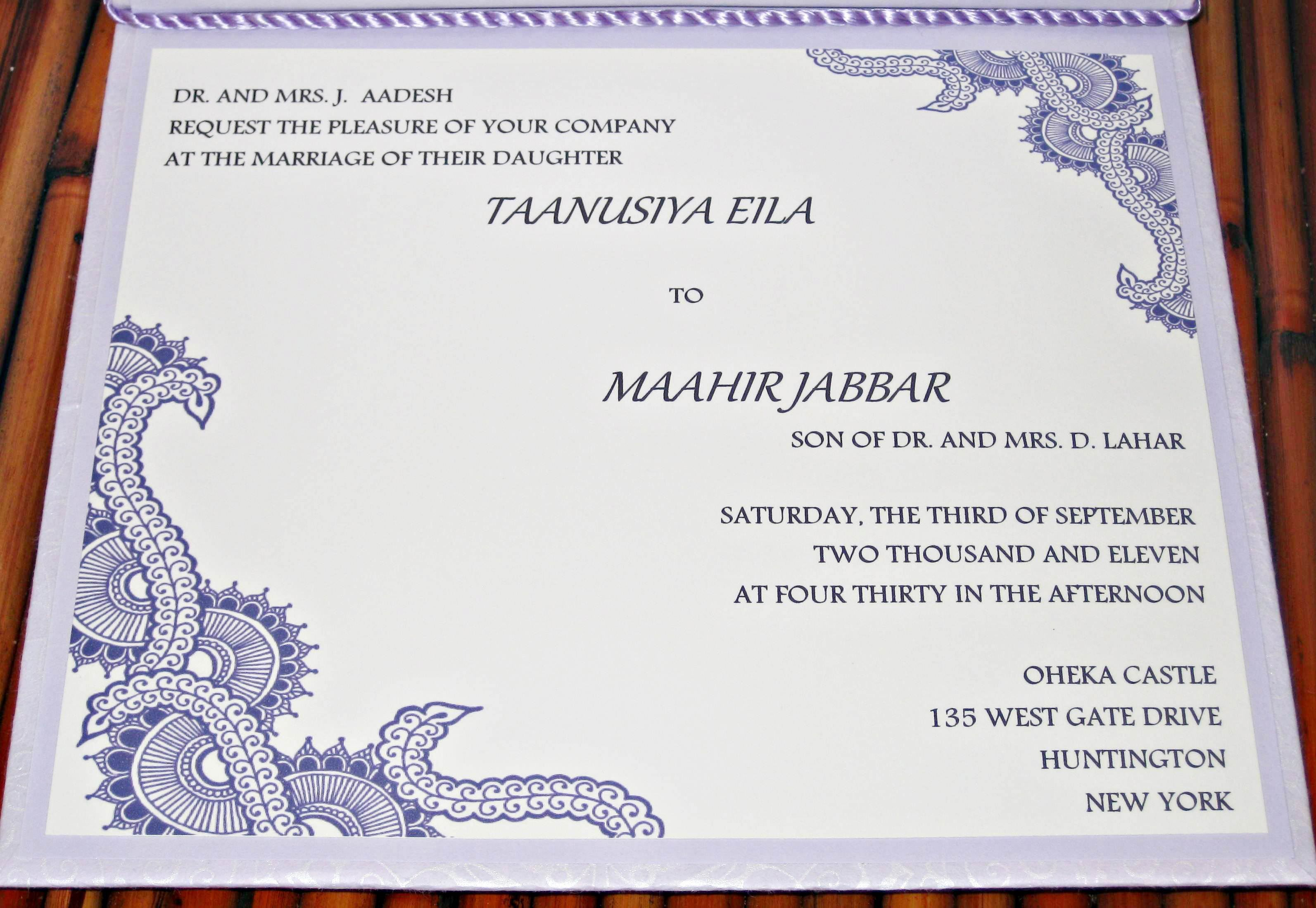 Muslim Wedding Invitation Cards Designs With Price