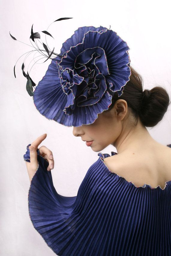 a8252551587  royal  blue  derby  fascinator  hat by  IrinaSardareva  couture  millinery