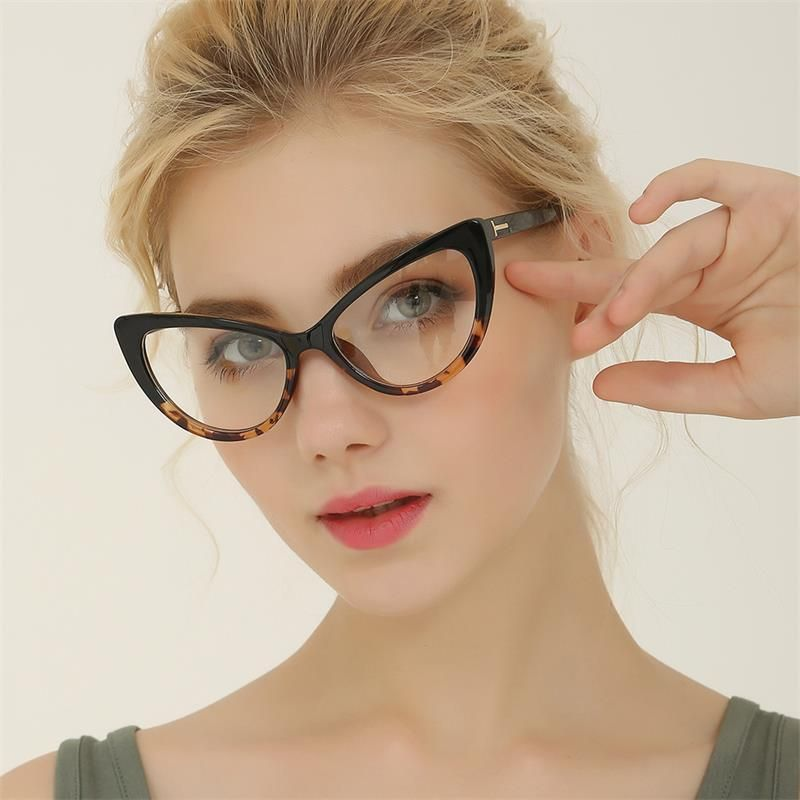 ffefe28873 Reboto Women S Glasses Transparent Clear Fashion Cat S Eye Spectacle Frame  Clear Lens Glasses Frame For Women Optical Eyewear Frame