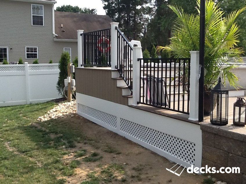 above ground pool deck deckorators cxt railing with black aluminum deckorators balusters with faux stone skirting