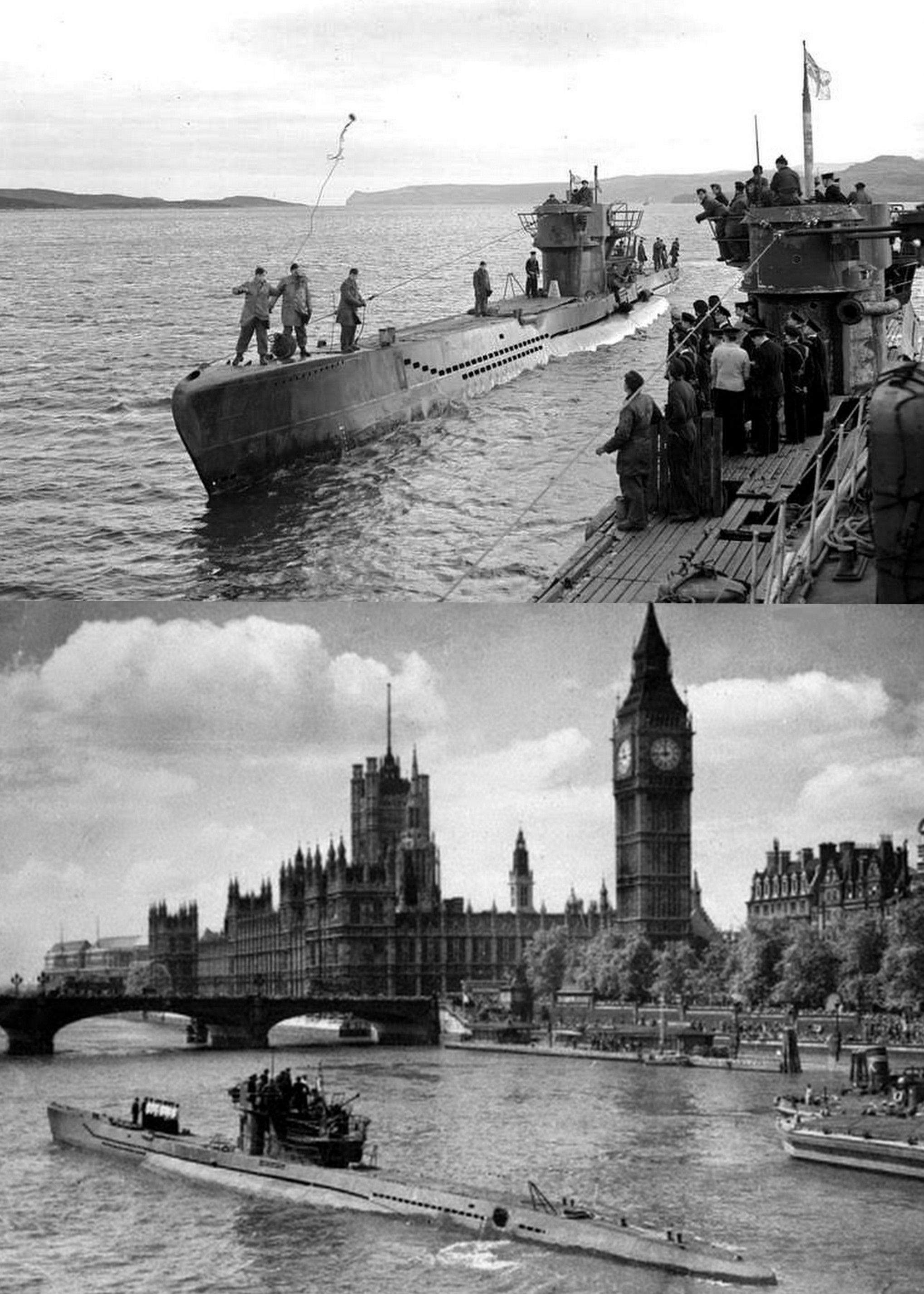 U 236 coming alongside U 826 with the White Ensign flying, for inspection by British naval officers at Loch Eriboll, Scotland. Before surrendering U 826 had been on operational duties for more than five weeks _   A surrendered U-boat in the Thames 1945