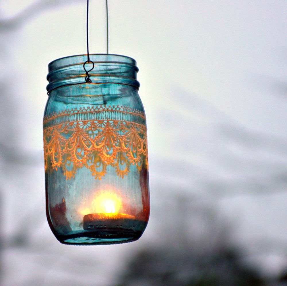 Hand Painted Mason Jar Moroccan Lantern -Ocean Blue Glass with Pearl ...