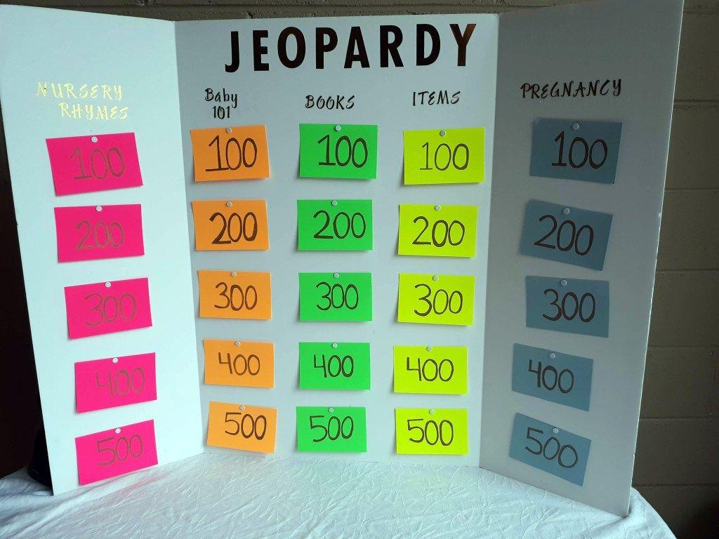 Baby Shower Jeopardy Game Baby shower jeopardy, Baby