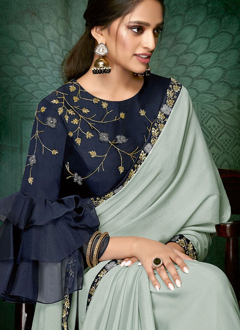 Blue Color Designer Traditional Saree  Vogue and pattern would be on the peak of your elegance afte