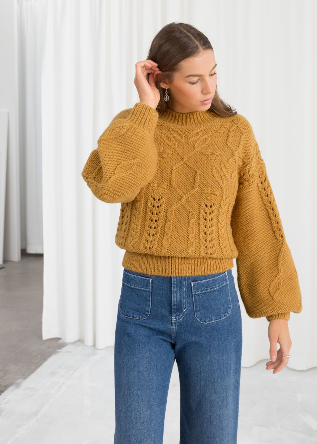 d6970e00cdf Floral Cable Knit Sweater in 2019 | My Style | Cable knit sweaters ...