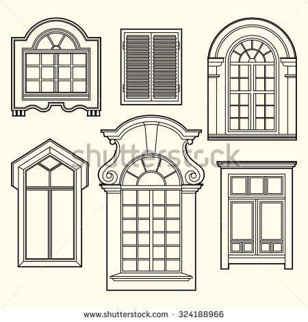 vintage window drawing. set of illustrations with a vintage windows. window drawing i