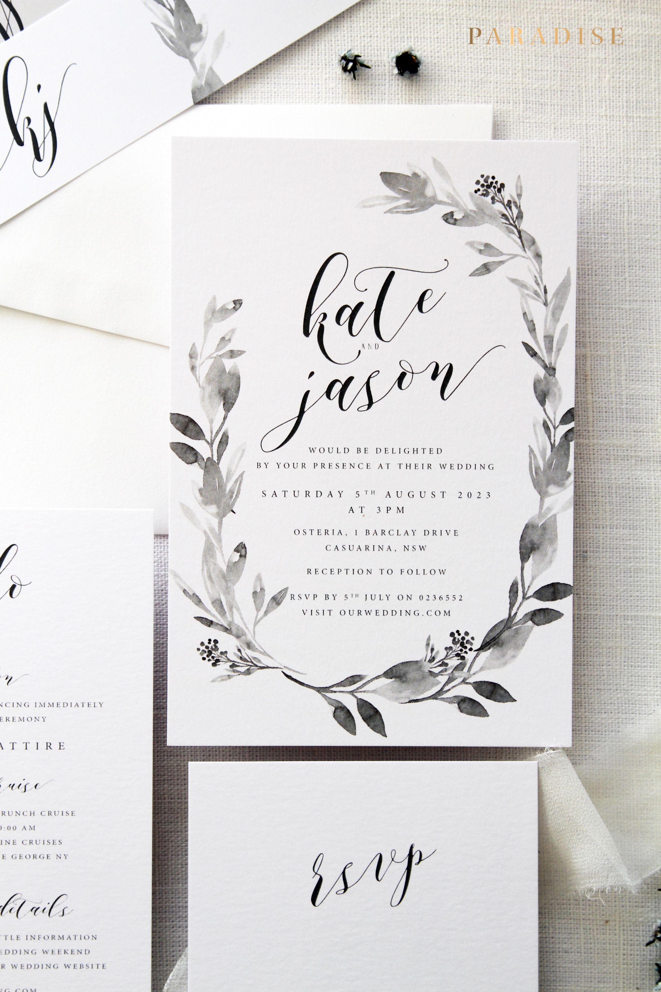 Wedding Invitation Kit | Claudia Wreath Wedding Invitation Sets Monogram Invitation Sets