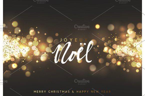 Joyeux Noel Techno.French Joyeux Noel Christmas Background With Golden Lights