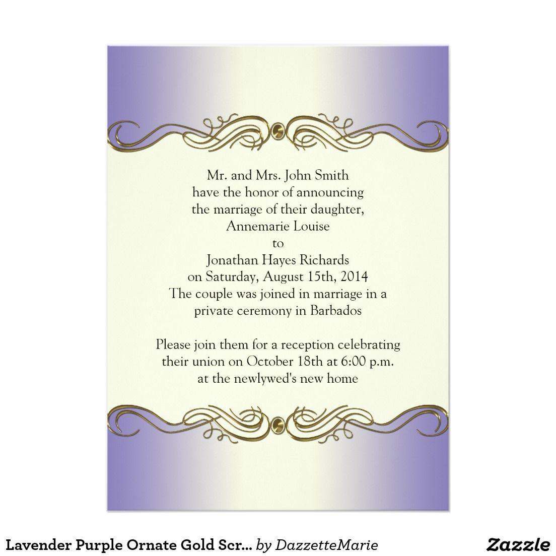 Wedding invitations wedding invitation purple gold ornate - Lavender Purple Ornate Gold Scrolls Post Wedding I Card