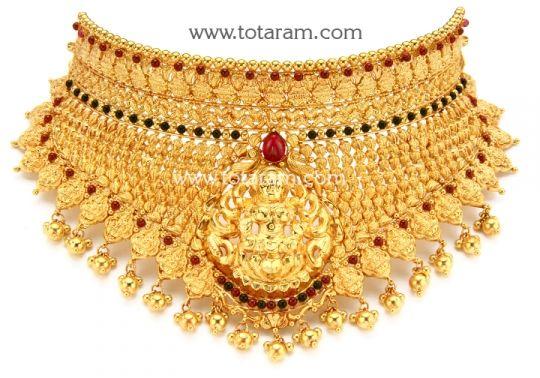 22K Gold Lakshmi Choker Necklace Temple Jewellery Totaram