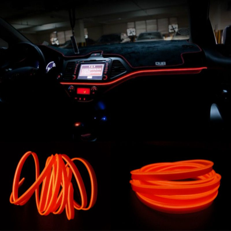 Jurus 1 2 3 5m Car Console Decorative Strip Car Interior El Wire Rope Tube Neon Light 10 Colors With 12v Inverter Car St Interior Lighting Car Lights Led Tubes