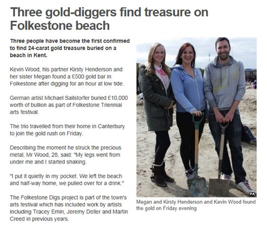 Gold rush on Folkestone beach as £10,000 worth of gold is buried to be found.