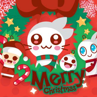 Cute Anime Cat Merry Christmas 330x330