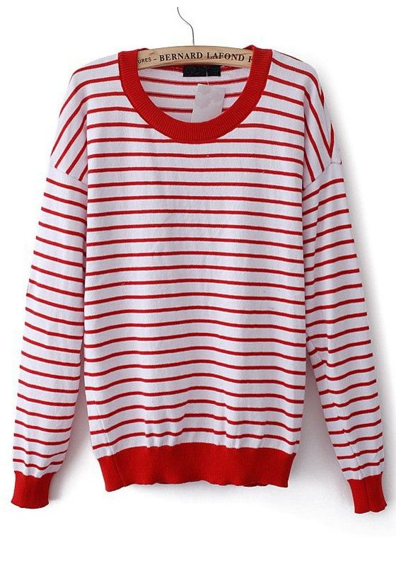 bccd23319058 Red White Striped Patchwork Heart Elbow Acrylic Sweater