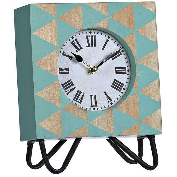 Jamie Blue Wooden Tabletop Clock (57 BRL) ❤ liked on Polyvore featuring home, home decor, clocks, wood mantel clock, retro home decor, wooden mantle clock, retro clock and wood home decor