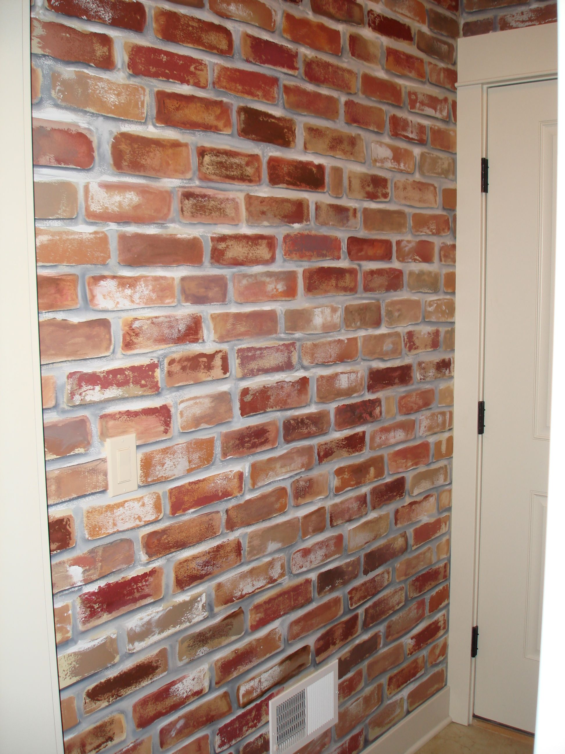 Painted Faux Brick Wall To Give My Mud Room A Little Character I