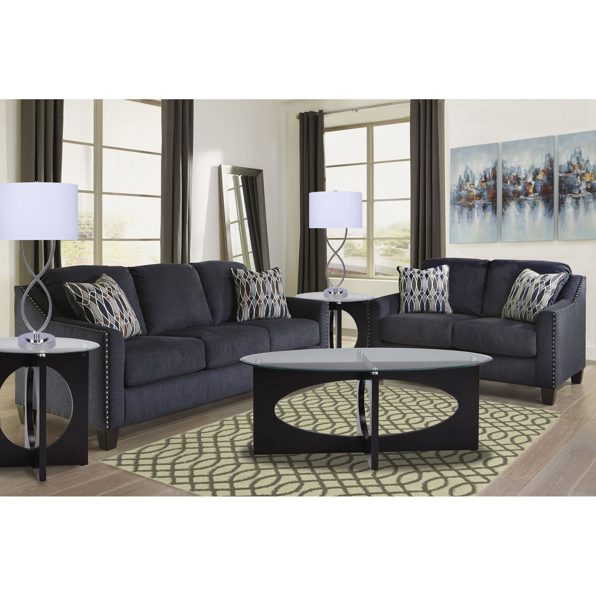 Gray Living Room Furniture Wall 7piece Creeal Heights Living Room