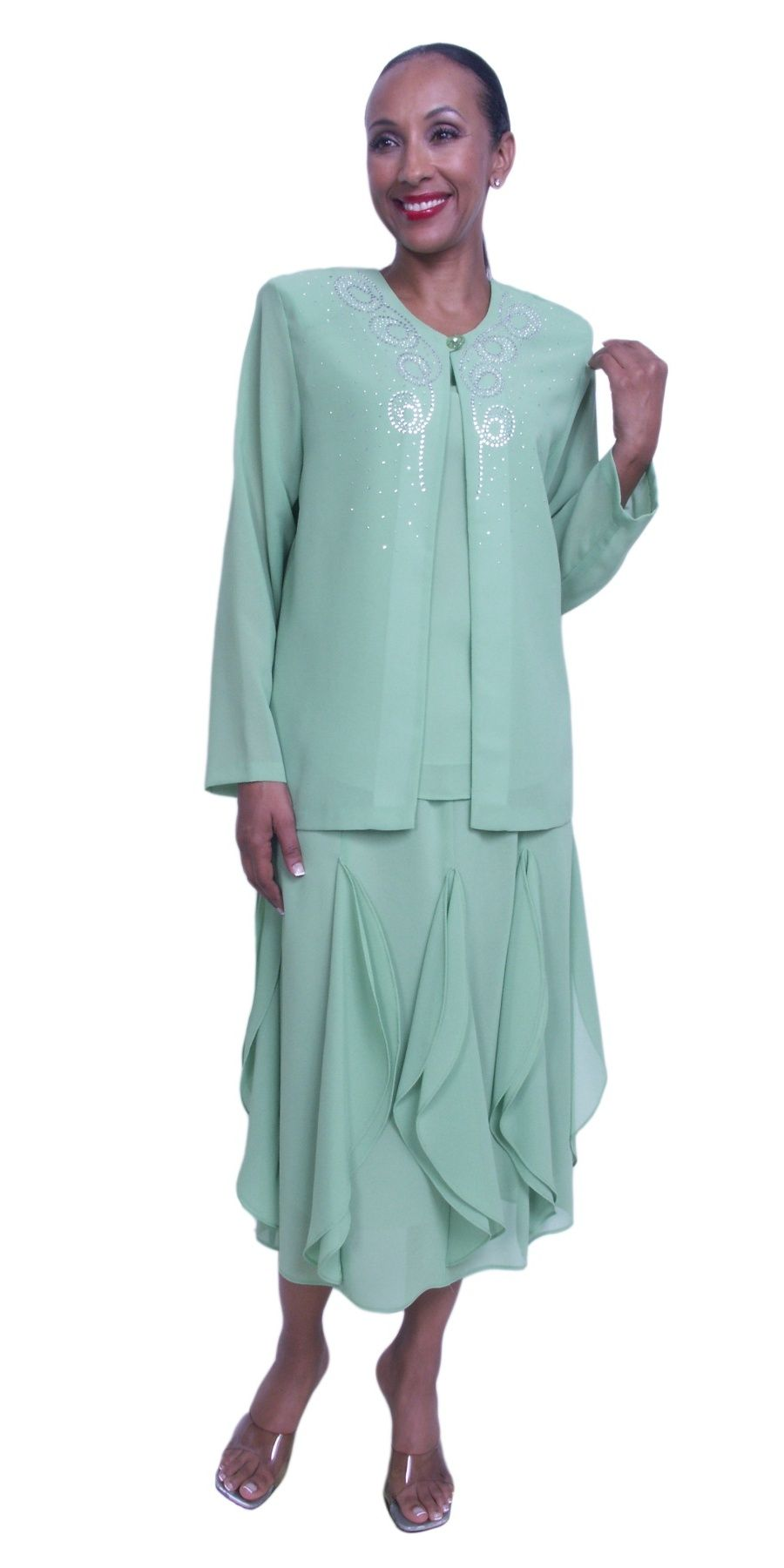 Sage Green Plus Size 3 Piece Dress Tea Length Layer Skirt With ...