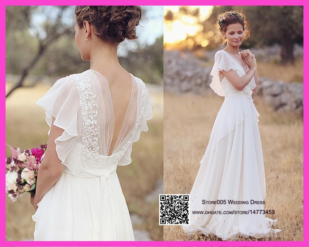 Plus size summer wedding dresses  Discount  Cheap Plus Size Chiffon Country Wedding Dresses V Neck