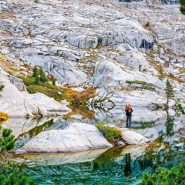 """""""The best thing about hiking through the night and arriving at camp in pitch darkness is waking up to surprises like this in the morning — spectacular alpine scenery surrounding an enchanting, emerald green (and ice cold), glacially-carved lake — as if every facet is working synergystically to remind me that this…this is why I travel."""" -@patagoniatothenorthpole Sequoia & Kings National Park, California, USA #passionpassport"""
