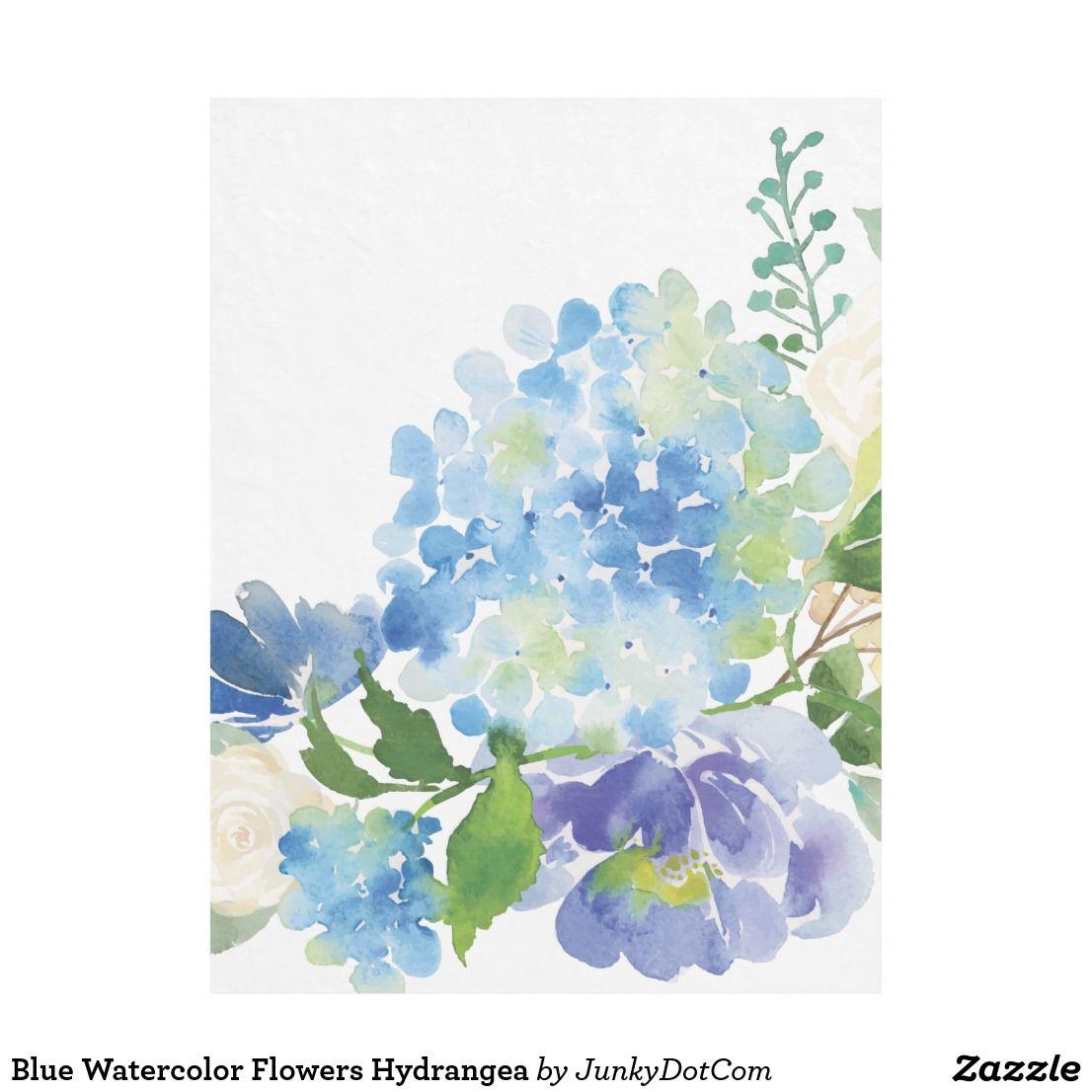 Blue Watercolor Flowers Hydrangea Fleece Blanket Watercolor Hydrangea Floral Watercolor Watercolor Flowers