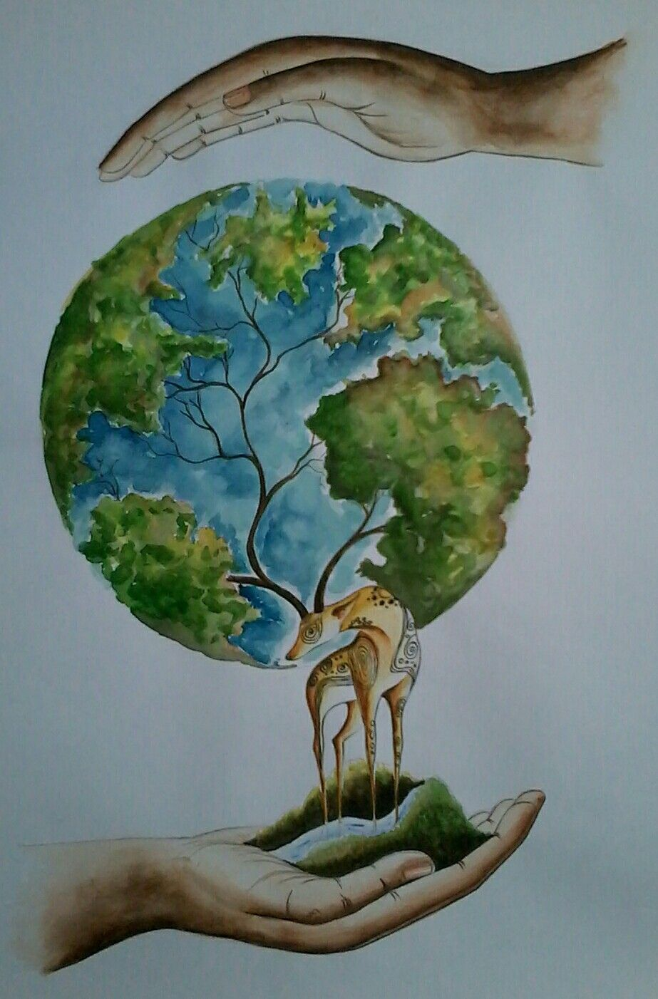 Save Trees Save Water Save Animals Save Earth Medium Water Colour Save Earth Drawing Earth Drawings Earth Art