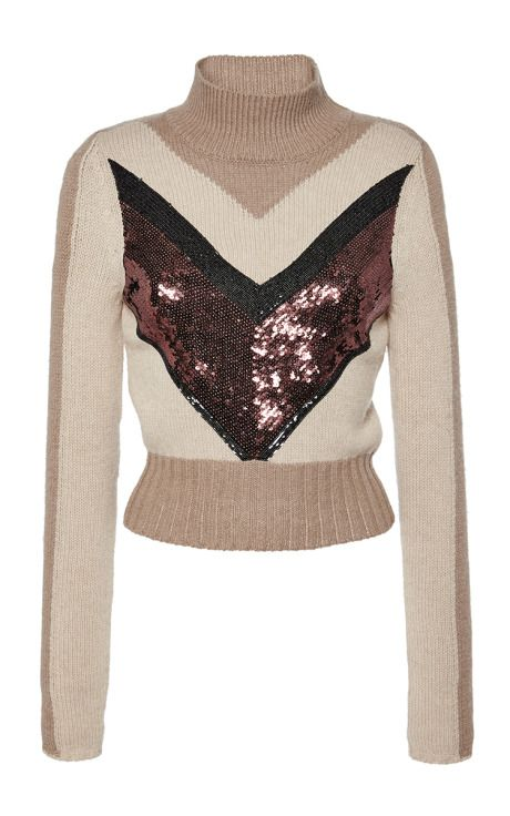 Sequin Chevron Two Tone Turtleneck by Giambattista Valli for Preorder on Moda Operandi