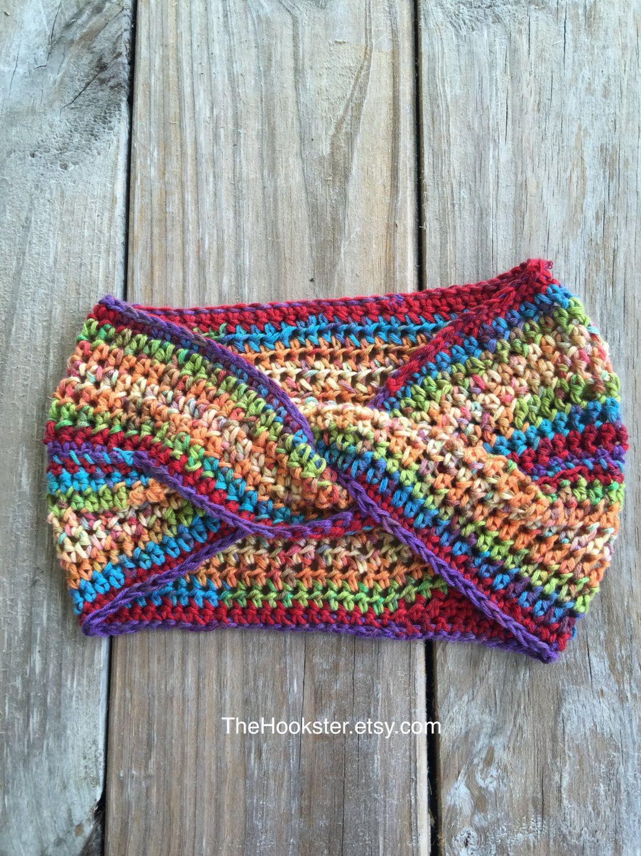Boho Crochet Twist Ear Warmer Headband In Multicolor Blend Handmade
