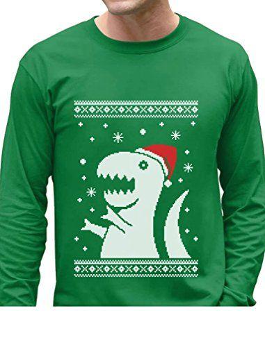 Big Trex Santa Ugly Christmas Sweater - Funny Xmas Long Sleeve T ...