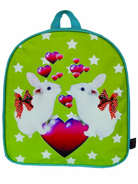 Multi-color, kunststof tas met verliefde konijntjes. Afneembaar kunststof. H= 22cm, B= 6cm, D= 28cm. Diverse tassen leverbaar.