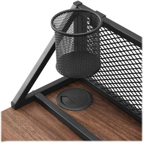 Walker Edison - Rechteckiger Schreibtisch mit Netzrücken - Dunkle Walnuss