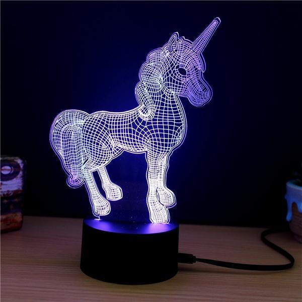 Unicorn Animal 3d Led Night Light 7 Color Change Touch Table Desk Lamp 3d Led Lamp 3d Led Night Light Led Lamp