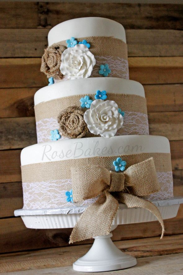 Burlap   Lace Rustic Wedding Cake   Shower  Wedding and Anniversary     How to Make This Burlap and Lace Wedding Cake   Rose Bakes