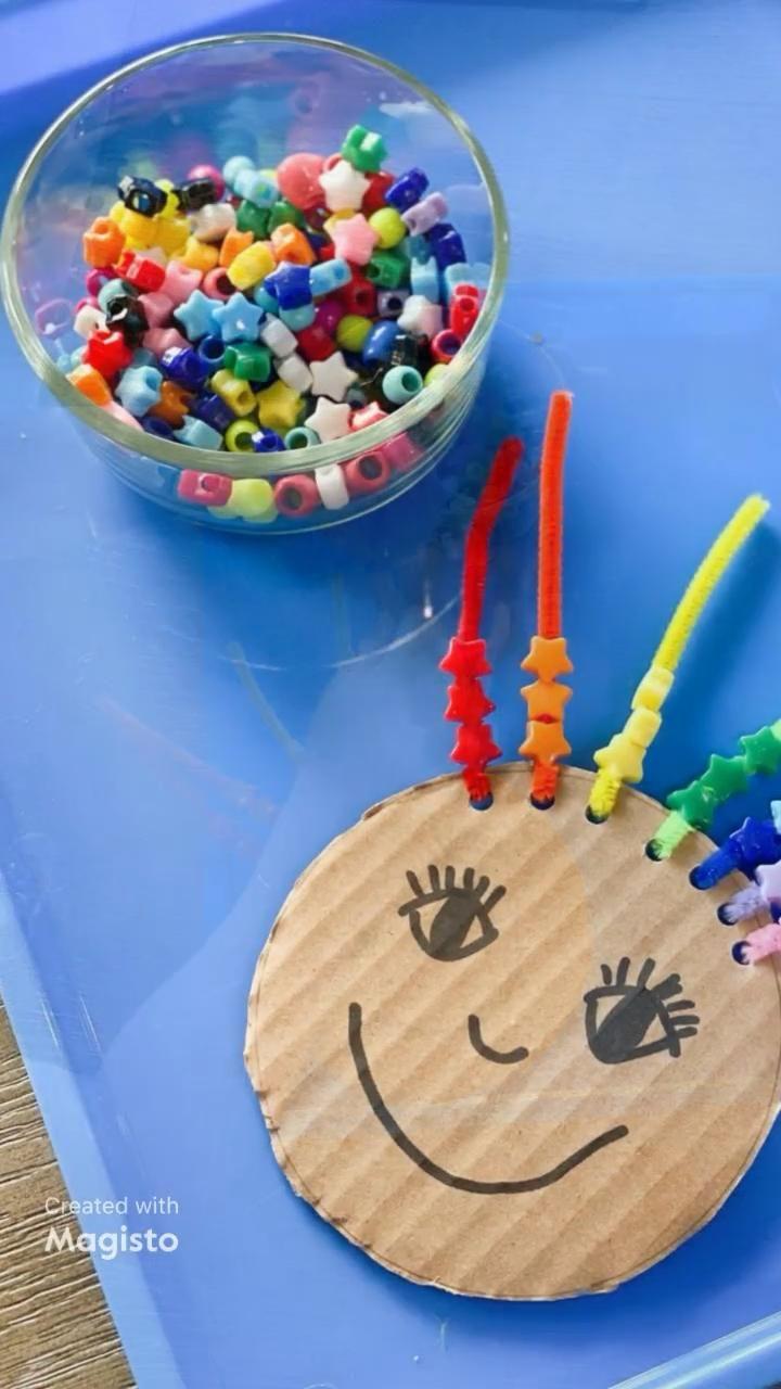 Photo of Crazy Rainbow Hair Fine Motor Activity for Kids