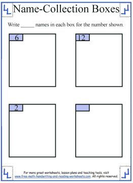 1st Grade Math:Name Collection Boxes | First Grade Math Worksheets ...