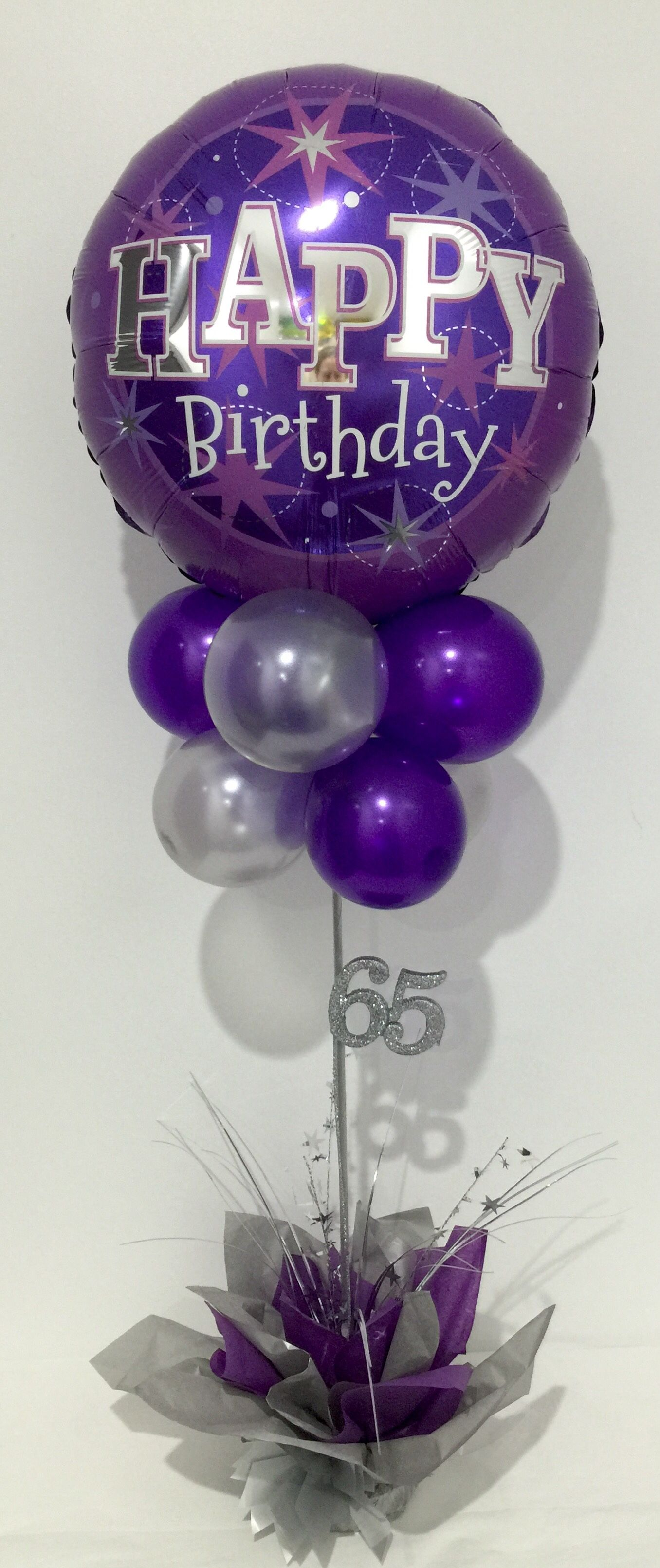 Purple And Silver Happy Birthday Balloon Table Decoration 65th