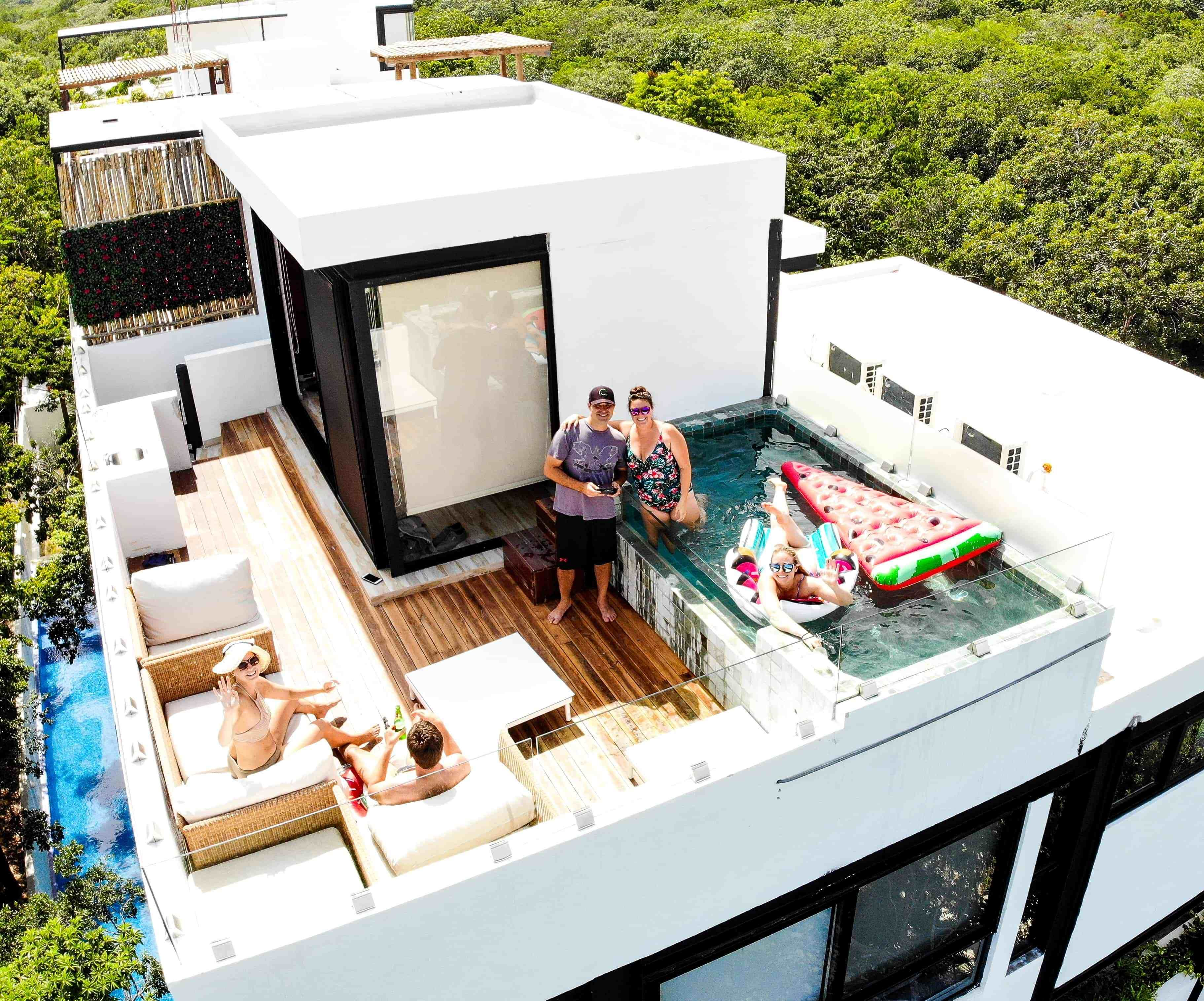 Airbnb Hooked Us Up With This Amazing Penthouse In Tulum Adventurers Guide To One Week In Quintana Roof Terrace Design Rooftop Terrace Design Rooftop Design