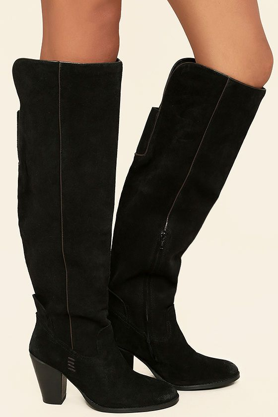 47cc5a489be Country meets city chic in the Mia Nigel Black Suede Leather Knee High Boots!  Ultra