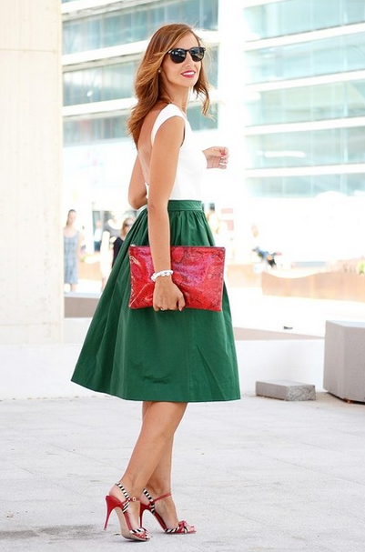 1ad3c4056 Cómo Combinar Una Falda Midi con tus Zapatos | Polleras | Faldas ...