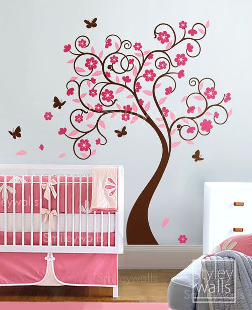 Girl Theme Maybe In A Soft Purple Instead Paint Color Schemes - Vinyl wall decals butterflies