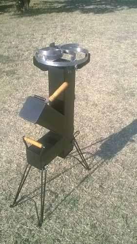 Cocina cohete rocket stove para disco arado chapa bifera for Planos para cocina cohete