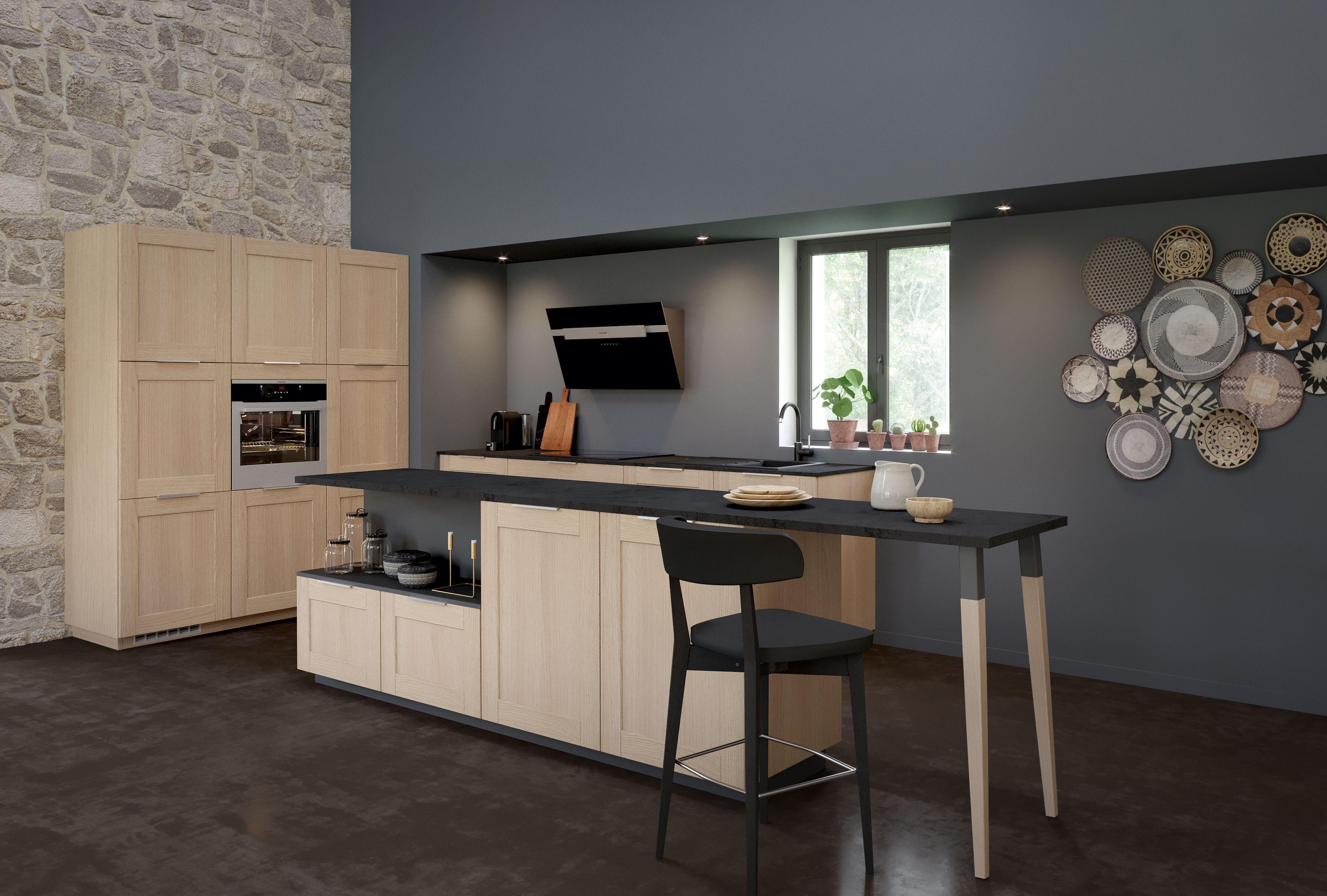 Ilot Central Table Extensible ambiance escapade   cuisine moderne, décoration maison et
